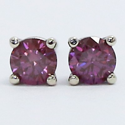 0.26 Carats Purple Diamond Studs Earrings 14k White Gold PU26