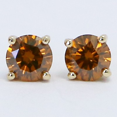 0.30 Carats Orange Cognac Diamond Studs Earrings 14k Yellow Gold CO30