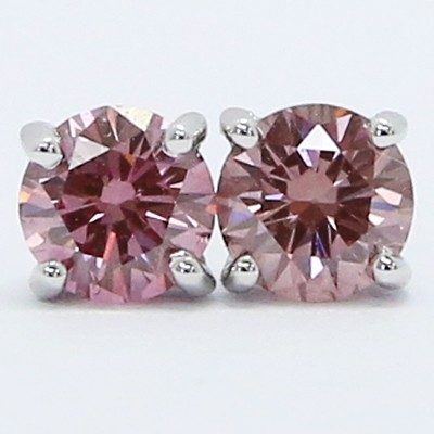 0.44 Carats Pink Purple Diamond Studs Earrings 14k White Gold