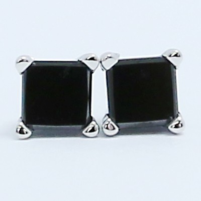 0.50 Carats Black Princess Diamond Studs Earrings 14k White Gold BKP50