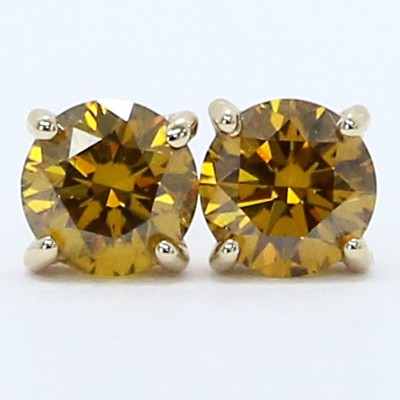 0.54 Carats Cognac Color Diamond Studs Earrings 14k Yellow Gold