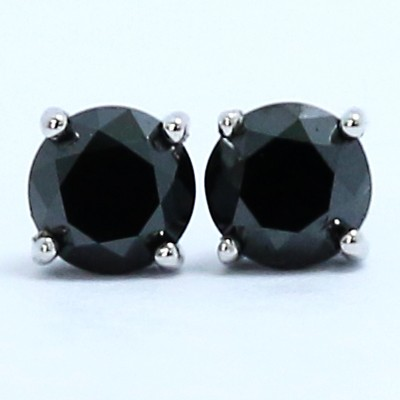 0.60 Carats Black Diamond Studs Earrings 14k White Gold BK60