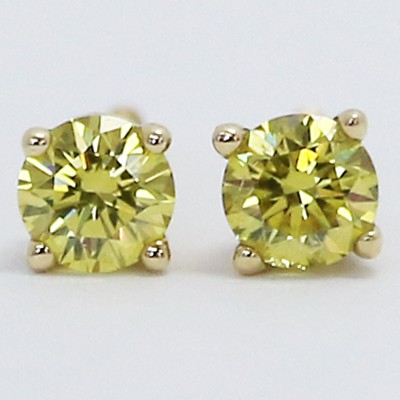 0.60 Carats Yellow Diamond Studs Earrings 14k Yellow Gold CA60