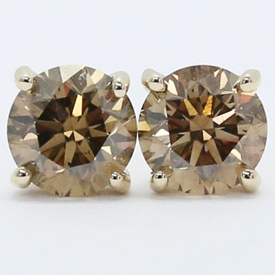 0.82 Carats Chocolate Brown Studs Earrings 14k Yellow Gold
