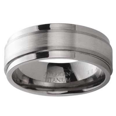 Titanium With Silver Inline Wedding Band 1441SS
