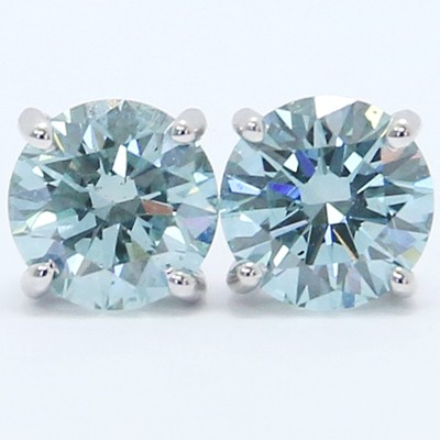 1.06 Carats Ice Blue Diamond Studs Earrings 14k White Gold
