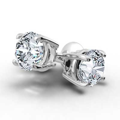 1.50 Carats Round Studs Earrings 14k White Gold BR150