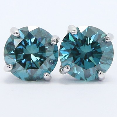 1.67 Carats Ocean Blue Diamond Studs Earrings 14k White Gold