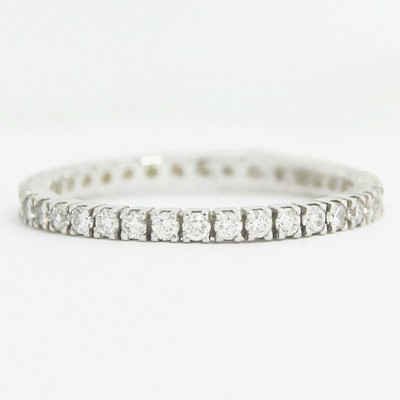 1.7mm Thin Four Prong Eternity Wedding Band 14k White Gold