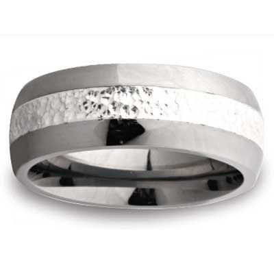 Tungsten With Silver Inline Wedding Band 2545SS