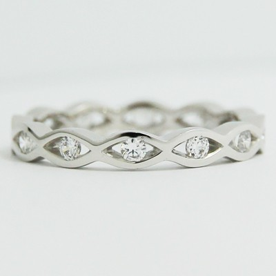 2.0-3.0mm Wave Style Eternity Wedding Band 14k White Gold L3768
