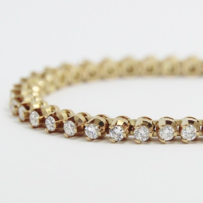 2.00 Carats Claw Set Tennis Bracelet 14K Yellow Gold YTB2