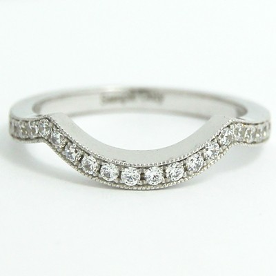 2.0mm Contoured Diamond Wedding Ring 14k White Gold