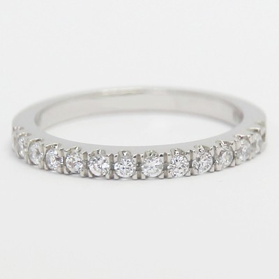 2.0mm French Claw Diamond Wedding Band 14k White Gold