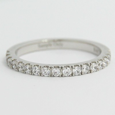 2.0mm French Cut Pave Set Wedding Band 14k White Gold