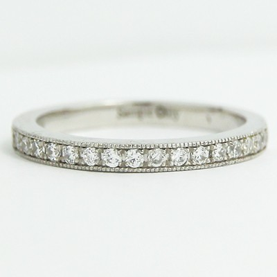 2.1mm Milgrain Pave Set Diamond Band 14k White Gold