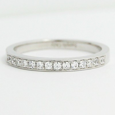 2.20mm Bead Set in Channel Wedding Band 14k White Gold L3827