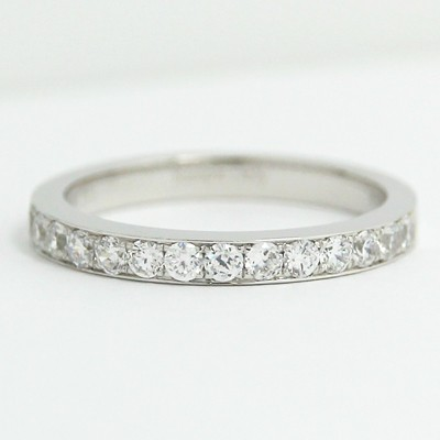 2.3mm Classic Channel Diamond Wedding Band 14k White Gold