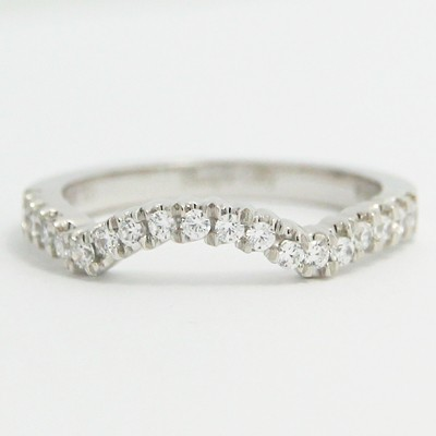 2.3mm Custom Contoured Diamond Wedding Band 14k White Gold