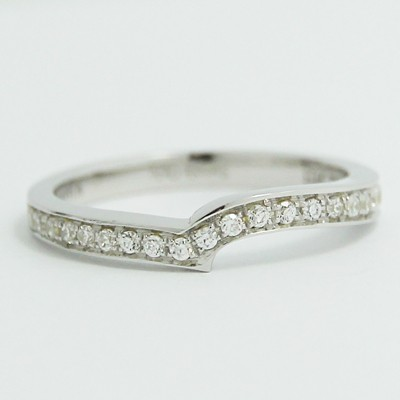 2.3mm Custom Curved Pave Wedding Band 14k White Gold