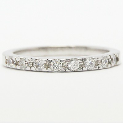 2.3mm French Cut Diamond Wedding Band 14k White Gold