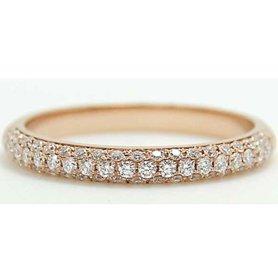 ladies wedding micro gold bands half diamond rose pave band domed