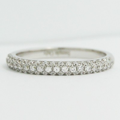 2.3mm Half Domed Micro Pave Diamond Band 14k White Gold