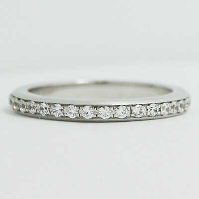 L93547 24mm Bead Set In Channel Eternity Wedding Band 14k White Gold