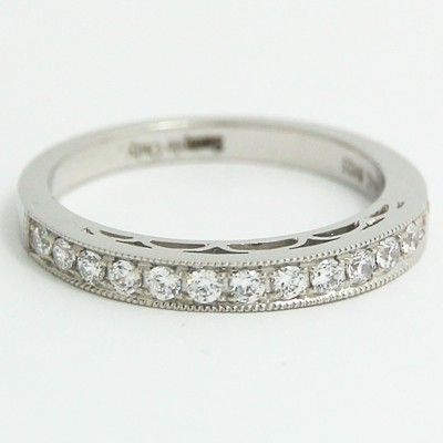 2.4mm Flush Fit Filigree style Wedding Ring 14k White Gold