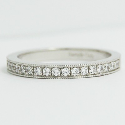 2.4mm Half Eternity Milgrain Diamond Band 14k White Gold