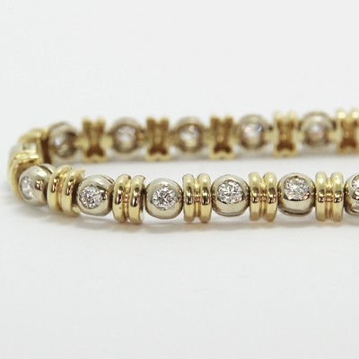 2.50-Carat Bezel Set Tennis Bracelet 14k White & Yellow Gold