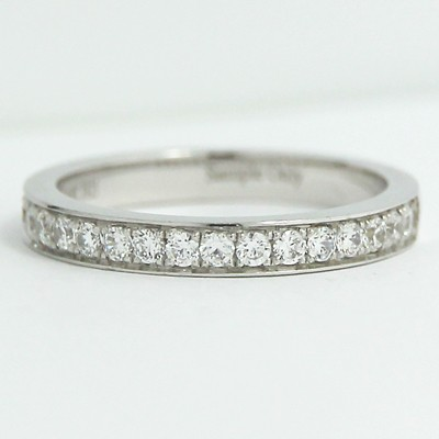 2.6mm Half Eternity Pave Channel Diamond Band 14k White Gold