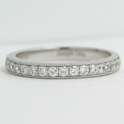 2.6mm Pave with Milgrain Channel Band 14k White Gold