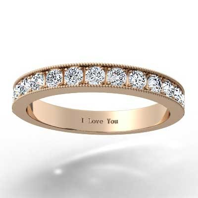 2.6mm Bead Set Milgrain Channel Band 14k Rose Gold