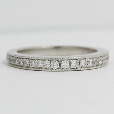 2.6mm Slightly Raised Eternity Diamond Bend 14k White Gold