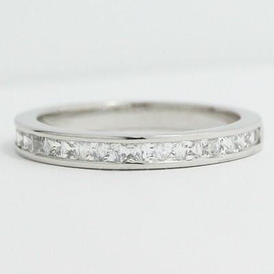 2.7mm Classic Channel Princess Cut Diamond Band 14k White Gold