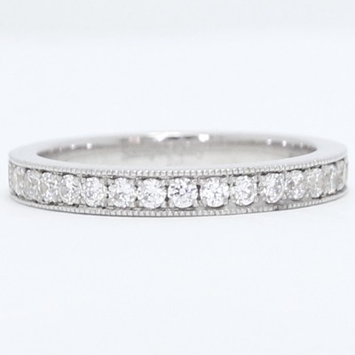2.7mm Milgrained Pave Set Diamond Wedding Band 14k White Gold