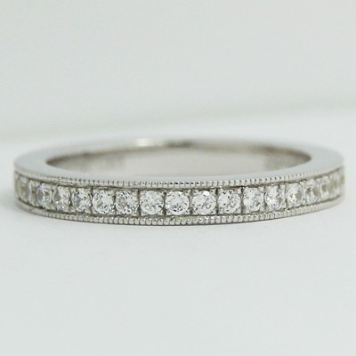 2.8mm Milgrain Eternity Wedding Band 14k White Gold