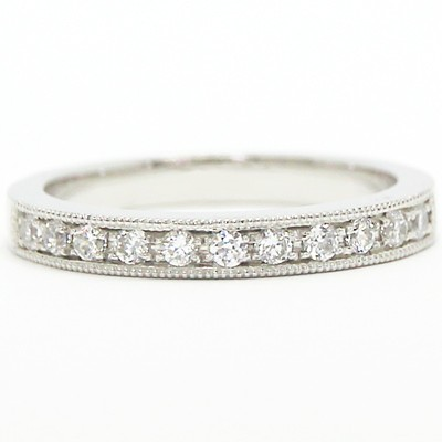 2.8mm Milgrained Channel Set Diamond Band 14k White Gold