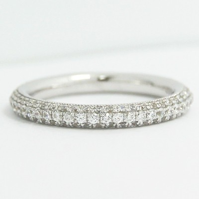 2.8mm Rounded Micro Pave Set Wedding Band 14k White Gold