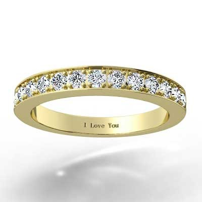 2.8mm Channel Bead Set Wedding Band 14k Yellow Gold
