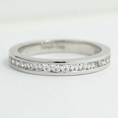 2.9mm Channel Set Diamond Wedding Band 14k White Gold