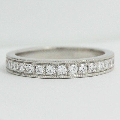 2.9mm Milgrain Channel Pave Set Wedding Ring 14k White Gold