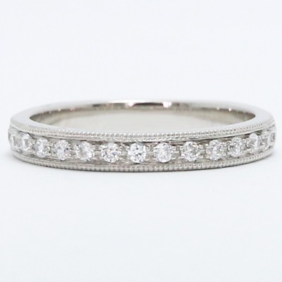 2.9mm Pave Set Euro Shank Diamond Wedding Band 14k White Gold