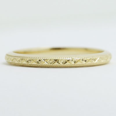 Thin Designed and Milgrained Wedding Band in 14k Yellow Gold