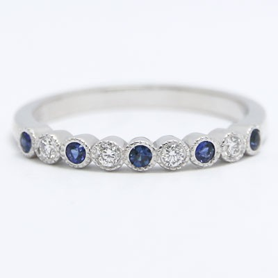 2mm Vintage Style Diamonds and Sapphires Wedding Band 14k White Gold VBDS