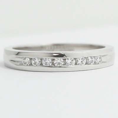 3.0-3.4mm Channel Set Diamond Wedding Band 14k White Gold
