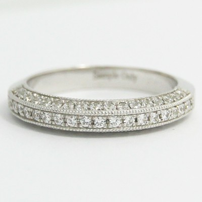 3.00mm Three Side Pave Diamonds Milgrain Band 14k White Gold