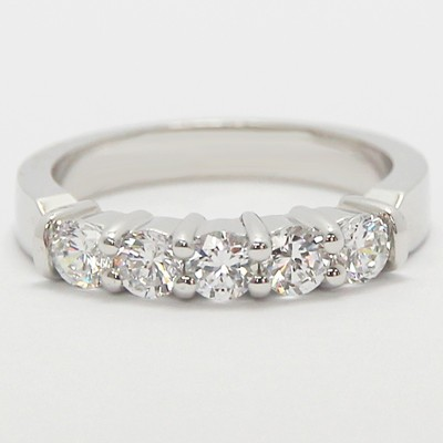 3.0mm Classic Five Stone Diamond Band 14k White Gold