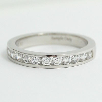 3.0mm Half Eternity Channel Set Diamond Band 14k White Gold